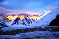 Khan Tengri Mountain. Rocky districts of Kazakhstan