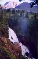 Kock-Kol waterfall. Rocky districts of Kazakhstan