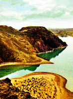Kapshagai Reservoir. Kazakhstan nature